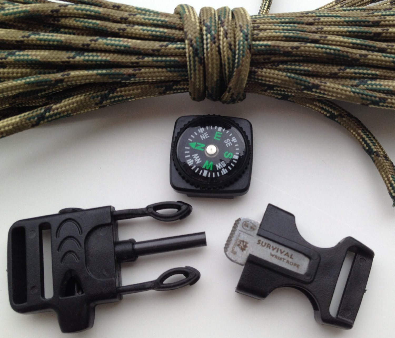 Fire Starter Buckle Flint Paracord Survival Bracelet Kit