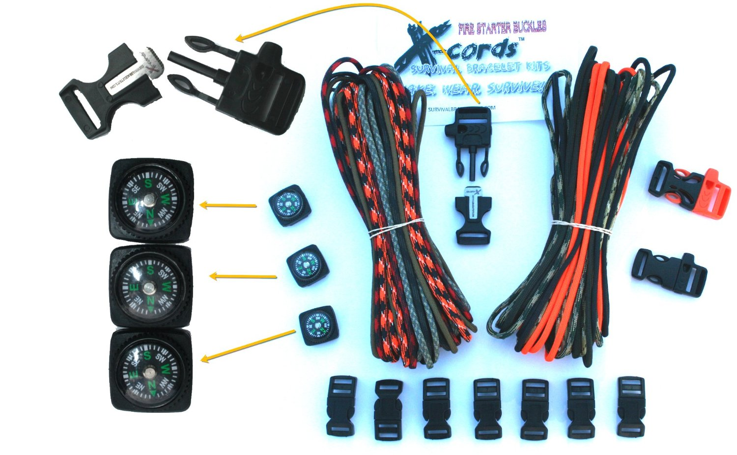 X-cords Paracord Bracelet Kit with Fire Starter Buckle-compass ...